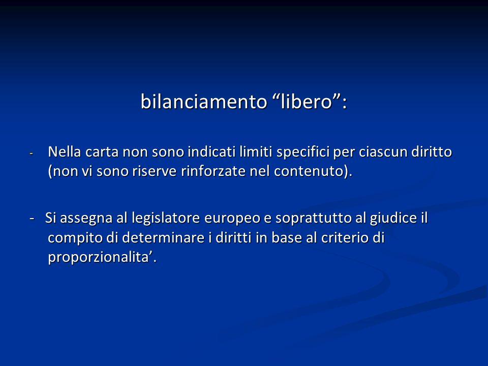 bilanciamento libero: - Nella carta non sono indicati limiti specifici per ciascun diritto (non vi sono riserve rinforzate nel contenuto). - Si assegn