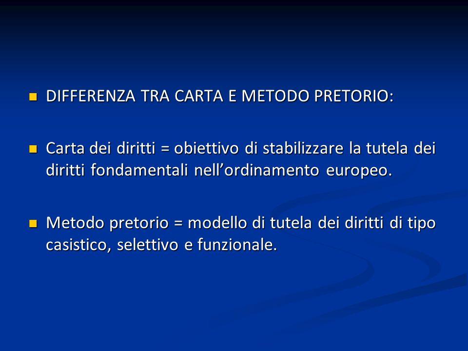 DIFFERENZA TRA CARTA E METODO PRETORIO: DIFFERENZA TRA CARTA E METODO PRETORIO: Carta dei diritti = obiettivo di stabilizzare la tutela dei diritti fo