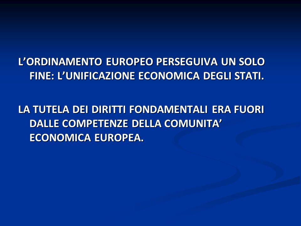 LORDINAMENTO EUROPEO PERSEGUIVA UN SOLO FINE: LUNIFICAZIONE ECONOMICA DEGLI STATI. LA TUTELA DEI DIRITTI FONDAMENTALI ERA FUORI DALLE COMPETENZE DELLA