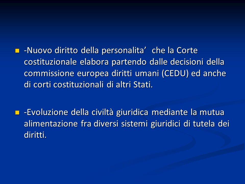 -Nuovo diritto della personalita che la Corte costituzionale elabora partendo dalle decisioni della commissione europea diritti umani (CEDU) ed anche