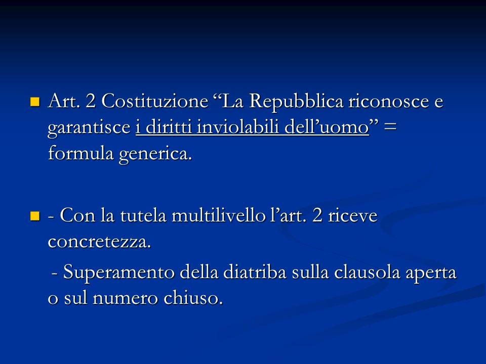 Art. 2 Costituzione La Repubblica riconosce e garantisce i diritti inviolabili delluomo = formula generica. Art. 2 Costituzione La Repubblica riconosc