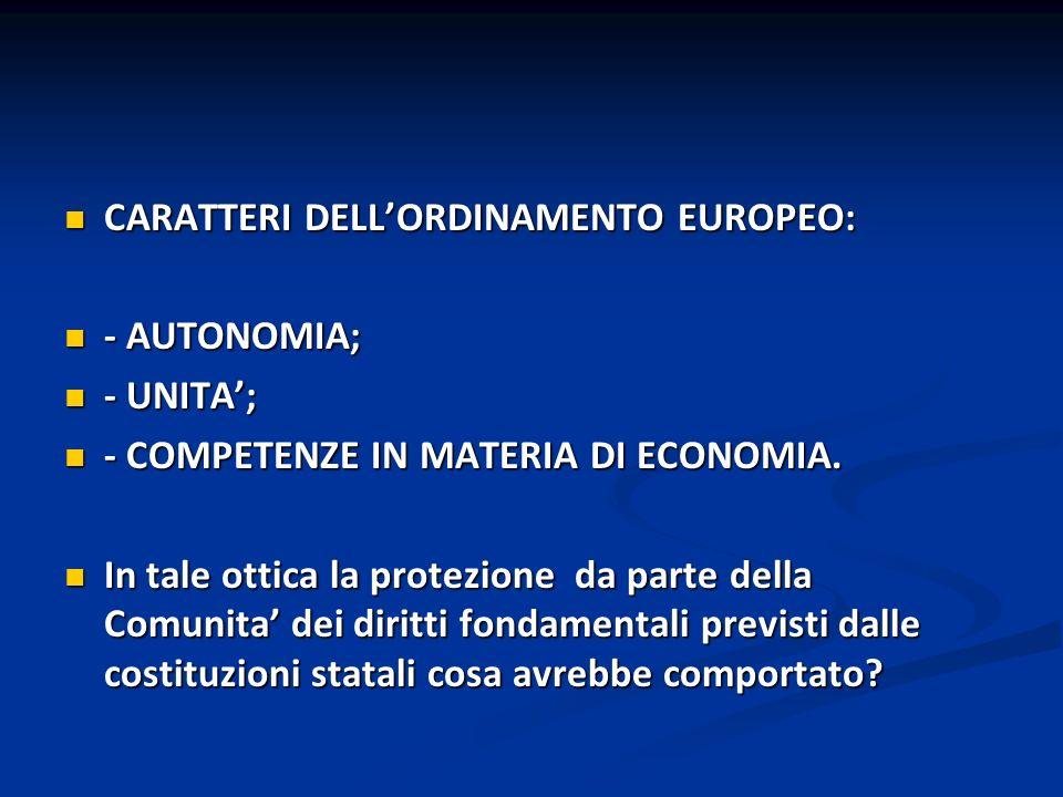 LE NORME COSTITUZIONALI DEGLI STATI IN MATERIA DI DIRITTI ERANO CONSIDERATE NORME ESTERNE ALLA COMUNITA ECONOMICA EUROPEA.