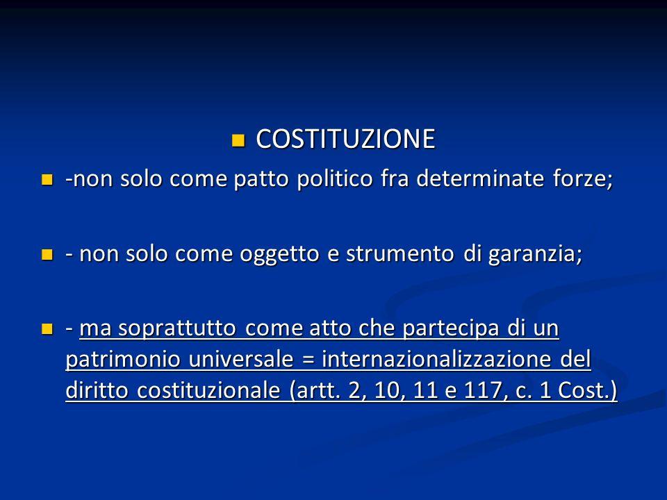 COSTITUZIONE COSTITUZIONE -non solo come patto politico fra determinate forze; -non solo come patto politico fra determinate forze; - non solo come og