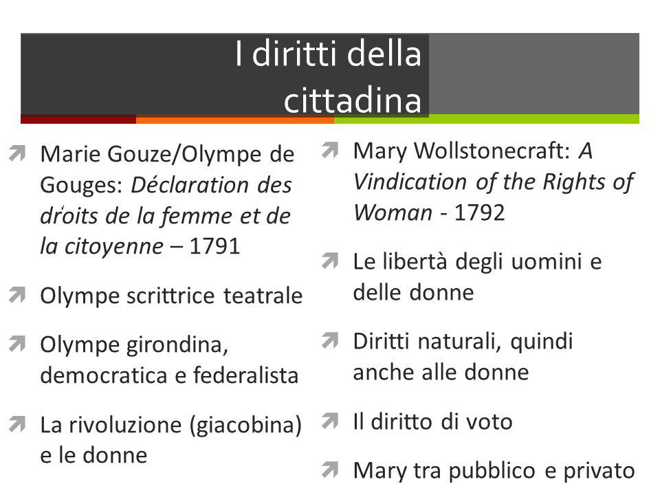 I diritti della cittadina Marie Gouze/Olympe de Gouges: Déclaration des droits de la femme et de la citoyenne – 1791 Olympe scrittrice teatrale Olympe