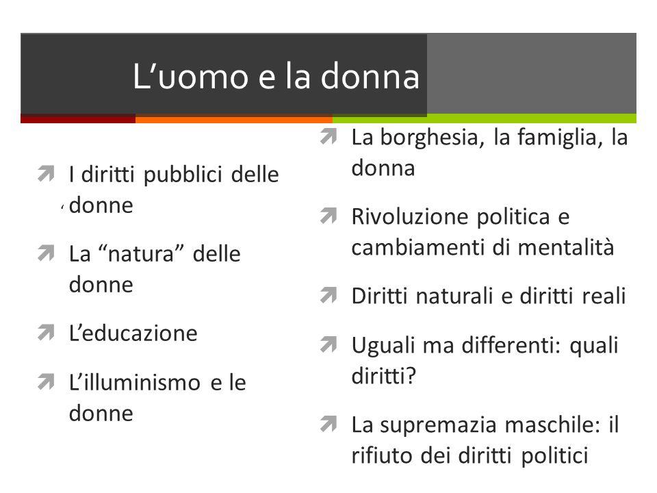 Luomo e la donna I diritti pubblici delle donne La natura delle donne Leducazione Lilluminismo e le donne La borghesia, la famiglia, la donna Rivoluzi