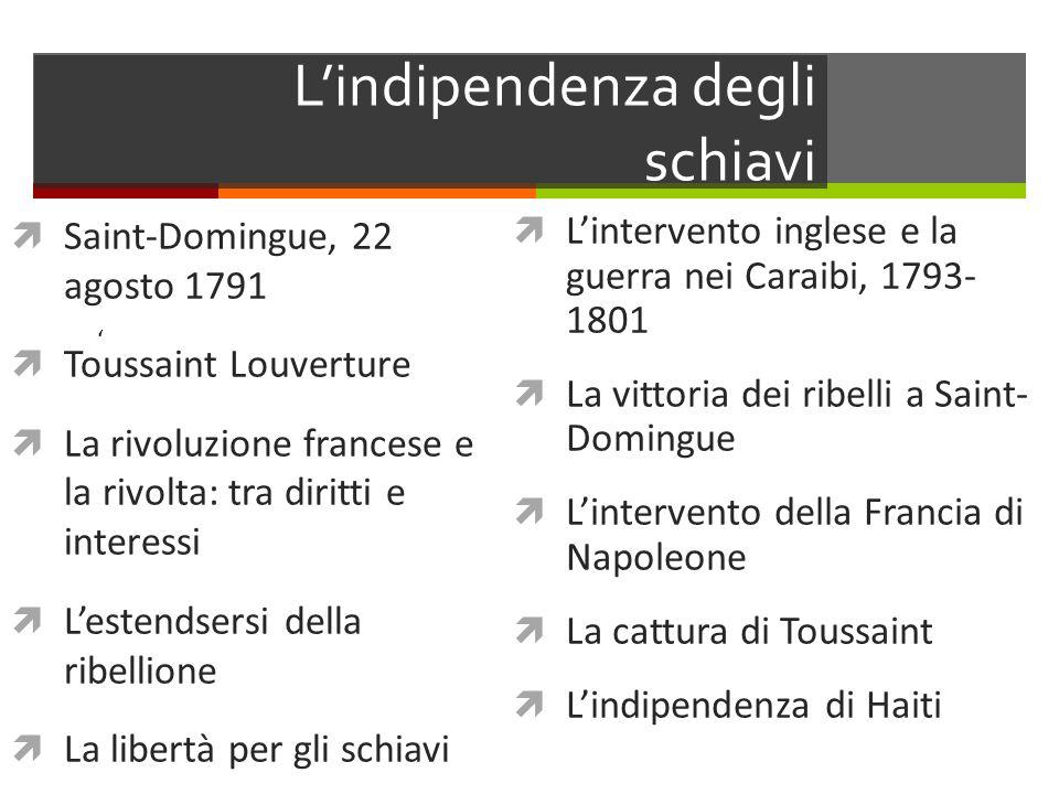 Lindipendenza degli schiavi Saint-Domingue, 22 agosto 1791 Toussaint Louverture La rivoluzione francese e la rivolta: tra diritti e interessi Lestends