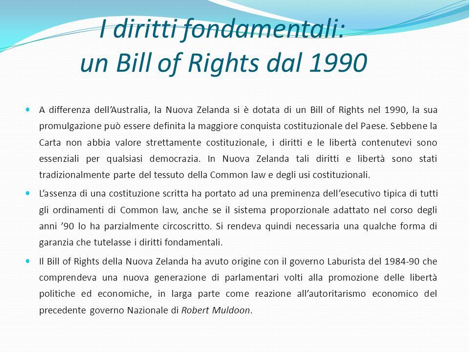 I diritti fondamentali: un Bill of Rights dal 1990 A differenza dellAustralia, la Nuova Zelanda si è dotata di un Bill of Rights nel 1990, la sua prom