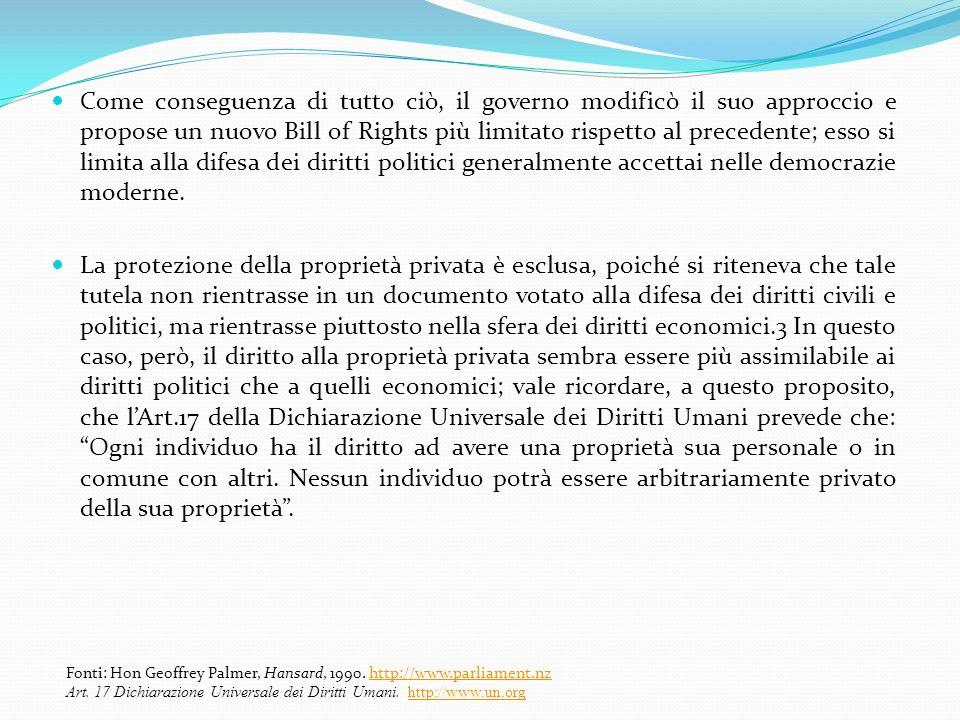Come conseguenza di tutto ciò, il governo modificò il suo approccio e propose un nuovo Bill of Rights più limitato rispetto al precedente; esso si lim