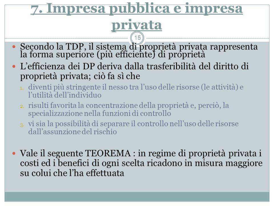 7. Impresa pubblica e impresa privata Secondo la TDP, il sistema di proprietà privata rappresenta la forma superiore (più efficiente) di proprietà Lef