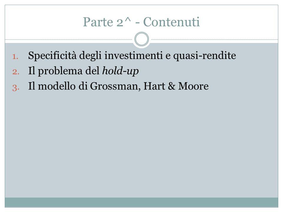 Parte 2^ - Contenuti 1.Specificità degli investimenti e quasi-rendite 2.