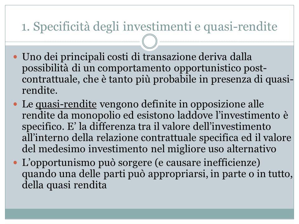 1. Specificità degli investimenti e quasi-rendite Uno dei principali costi di transazione deriva dalla possibilità di un comportamento opportunistico