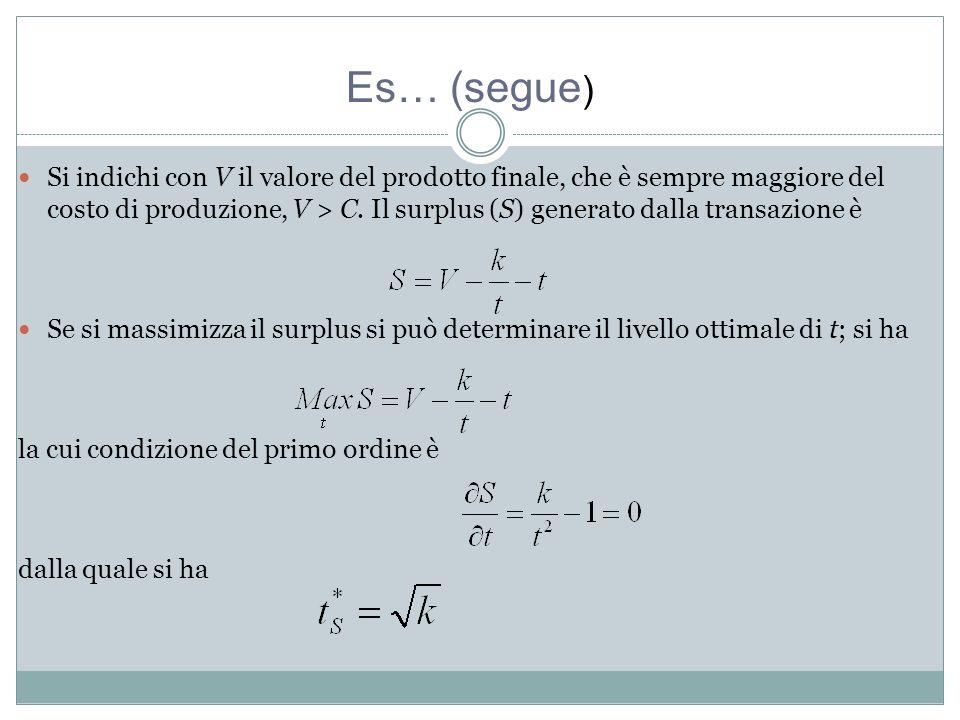 Si indichi con V il valore del prodotto finale, che è sempre maggiore del costo di produzione, V > C.