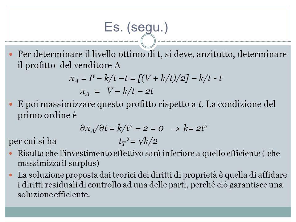 Per determinare il livello ottimo di t, si deve, anzitutto, determinare il profitto del venditore A π A = P – k/t –t = [(V + k/t)/2] – k/t - t π A = V – k/t – 2t E poi massimizzare questo profitto rispetto a t.