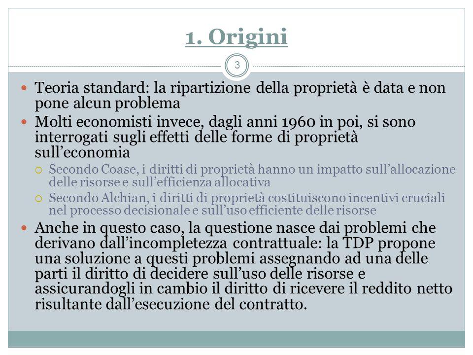 1. Origini Teoria standard: la ripartizione della proprietà è data e non pone alcun problema Molti economisti invece, dagli anni 1960 in poi, si sono