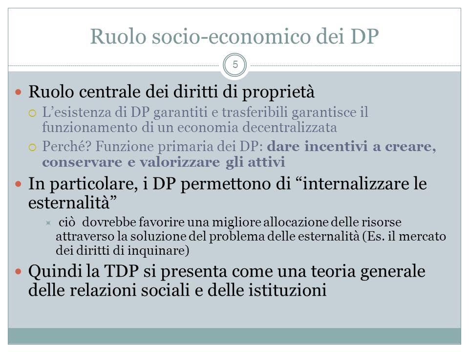 Ruolo socio-economico dei DP Ruolo centrale dei diritti di proprietà Lesistenza di DP garantiti e trasferibili garantisce il funzionamento di un economia decentralizzata Perché.