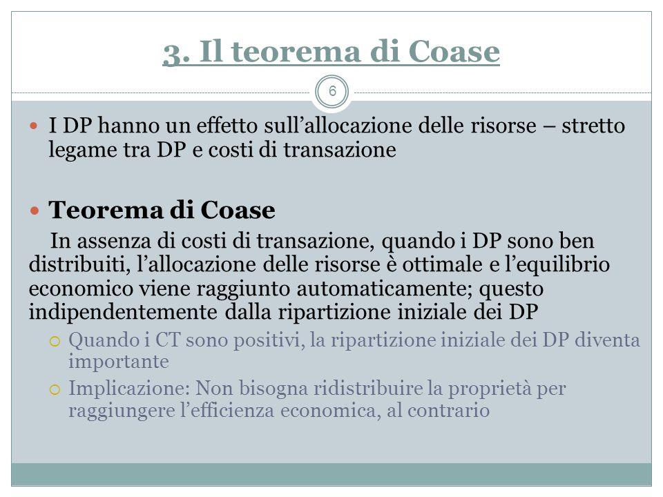 3. Il teorema di Coase I DP hanno un effetto sullallocazione delle risorse – stretto legame tra DP e costi di transazione Teorema di Coase In assenza