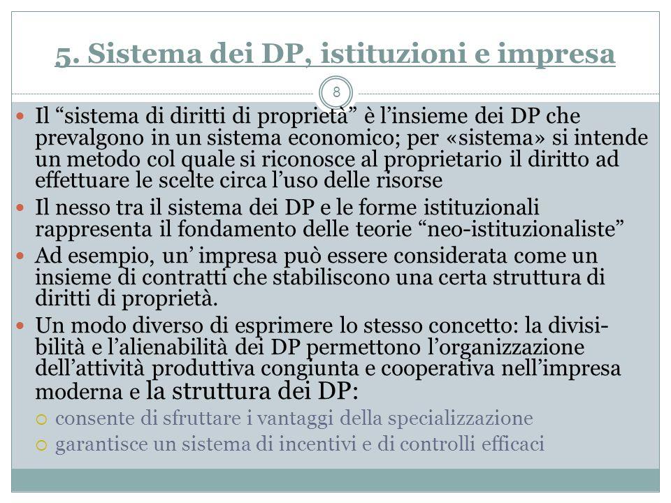 5. Sistema dei DP, istituzioni e impresa Il sistema di diritti di proprietà è linsieme dei DP che prevalgono in un sistema economico; per «sistema» si