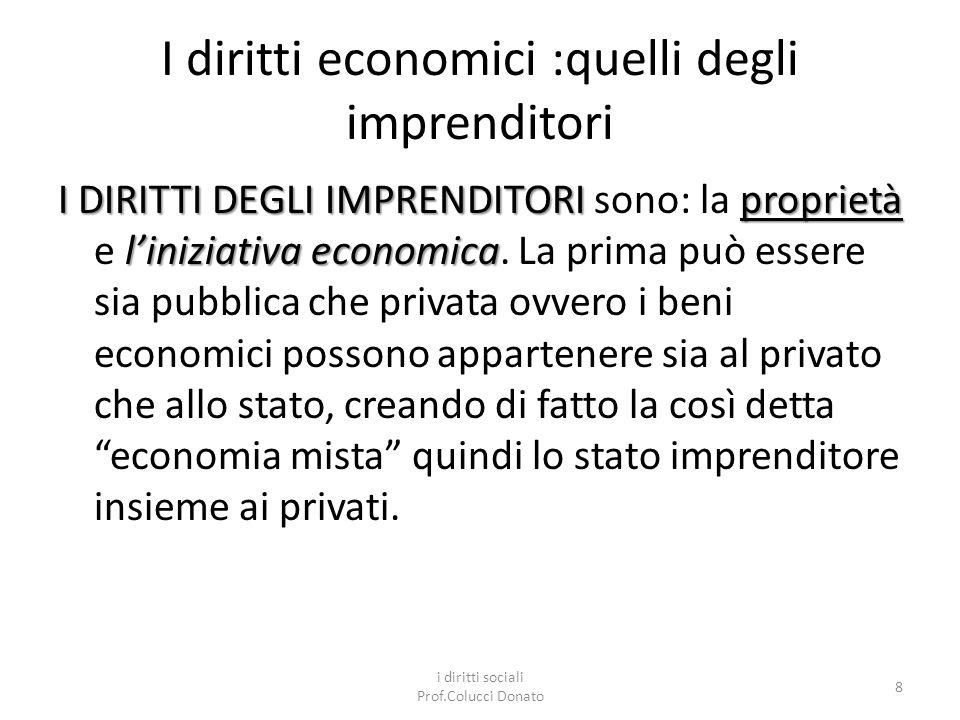 I diritti economici :quelli degli imprenditori I DIRITTI DEGLI IMPRENDITORI proprietà liniziativa economica I DIRITTI DEGLI IMPRENDITORI sono: la proprietà e liniziativa economica.
