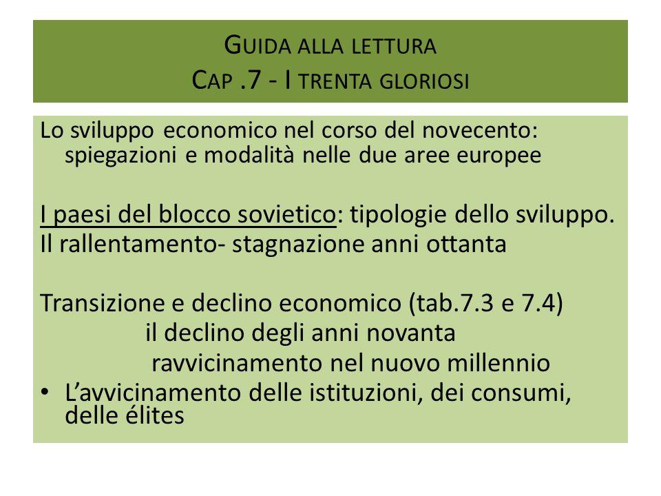 G UIDA ALLA LETTURA C AP.7 - I TRENTA GLORIOSI Lo sviluppo economico nel corso del novecento: spiegazioni e modalità nelle due aree europee I paesi de
