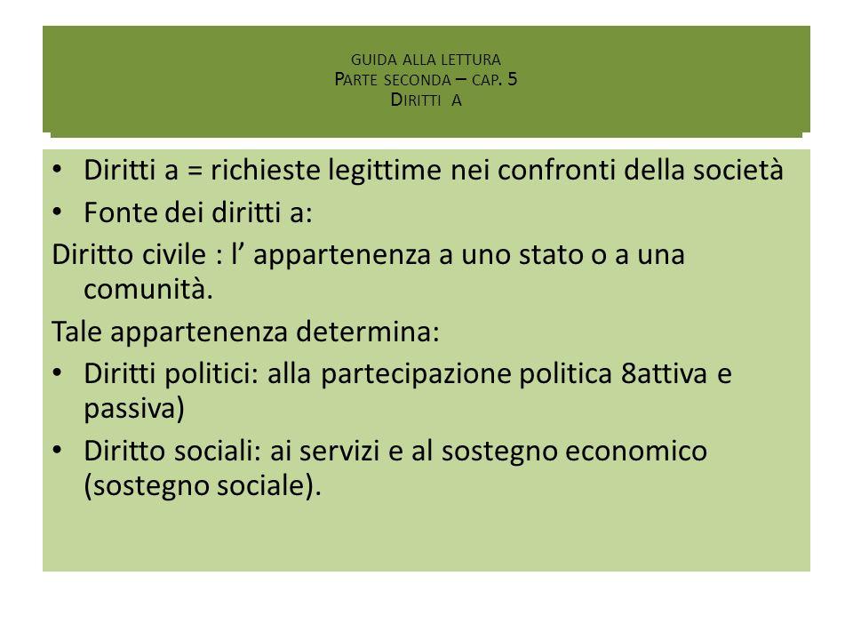 I Diritti Diritti a = richieste legittime nei confronti della società Fonte dei diritti a: Diritto civile : l appartenenza a uno stato o a una comunit