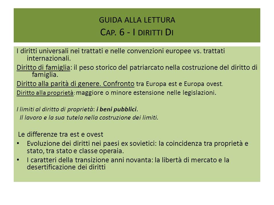 GUIDA ALLA LETTURA C AP. 6 - I DIRITTI D I I diritti universali nei trattati e nelle convenzioni europee vs. trattati internazionali. Diritto di famig