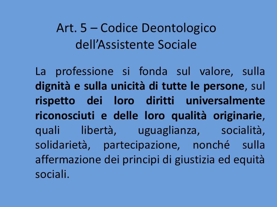 La professione si fonda sul valore, sulla dignità e sulla unicità di tutte le persone, sul rispetto dei loro diritti universalmente riconosciuti e del