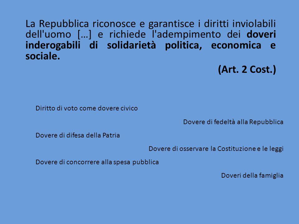 La Repubblica riconosce e garantisce i diritti inviolabili dell'uomo […] e richiede l'adempimento dei doveri inderogabili di solidarietà politica, eco