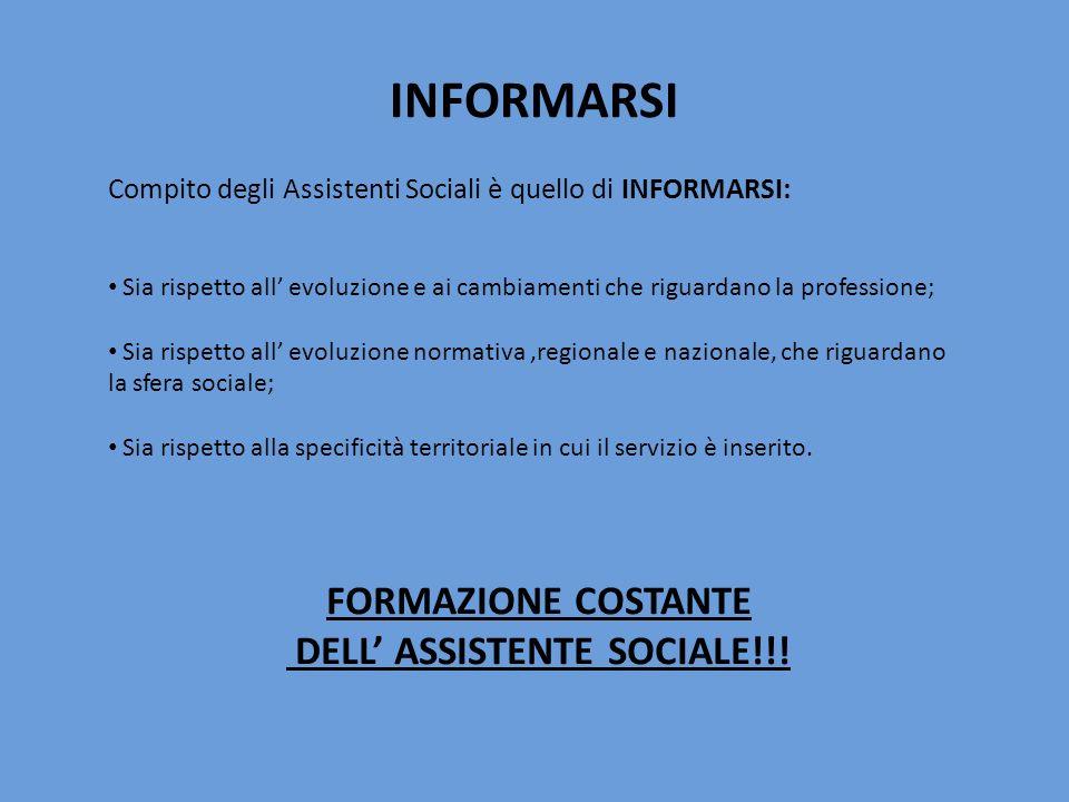 INFORMARSI Compito degli Assistenti Sociali è quello di INFORMARSI: Sia rispetto all evoluzione e ai cambiamenti che riguardano la professione; Sia ri
