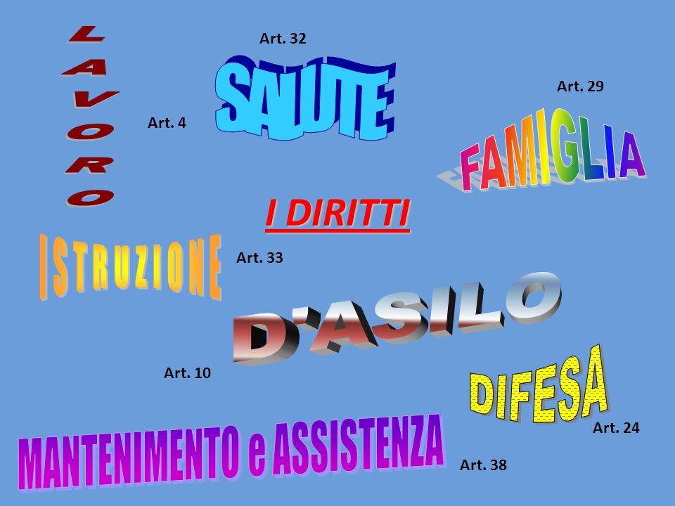 I DIRITTI Art. 4 Art. 10 Art. 24 Art. 29 Art. 32 Art. 33 Art. 38