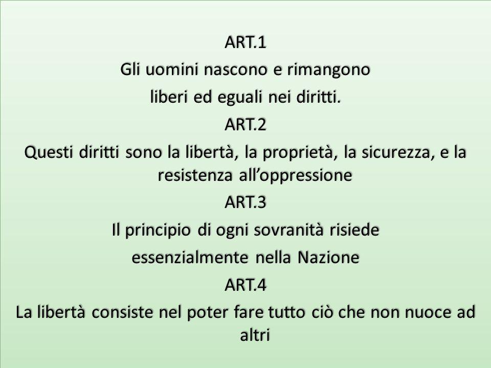 ART.1 Gli uomini nascono e rimangono liberi ed eguali nei diritti.