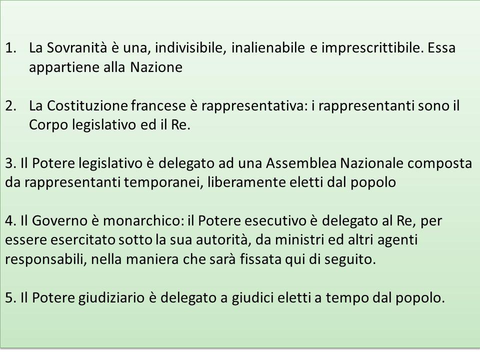 1.La Sovranità è una, indivisibile, inalienabile e imprescrittibile.