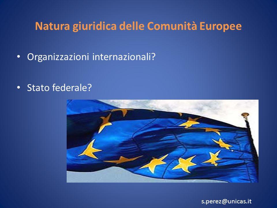 Natura giuridica delle Comunità Europee Organizzazioni internazionali.