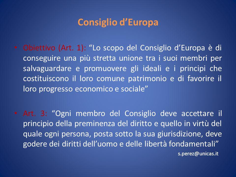 Consiglio dEuropa Obiettivo (Art.