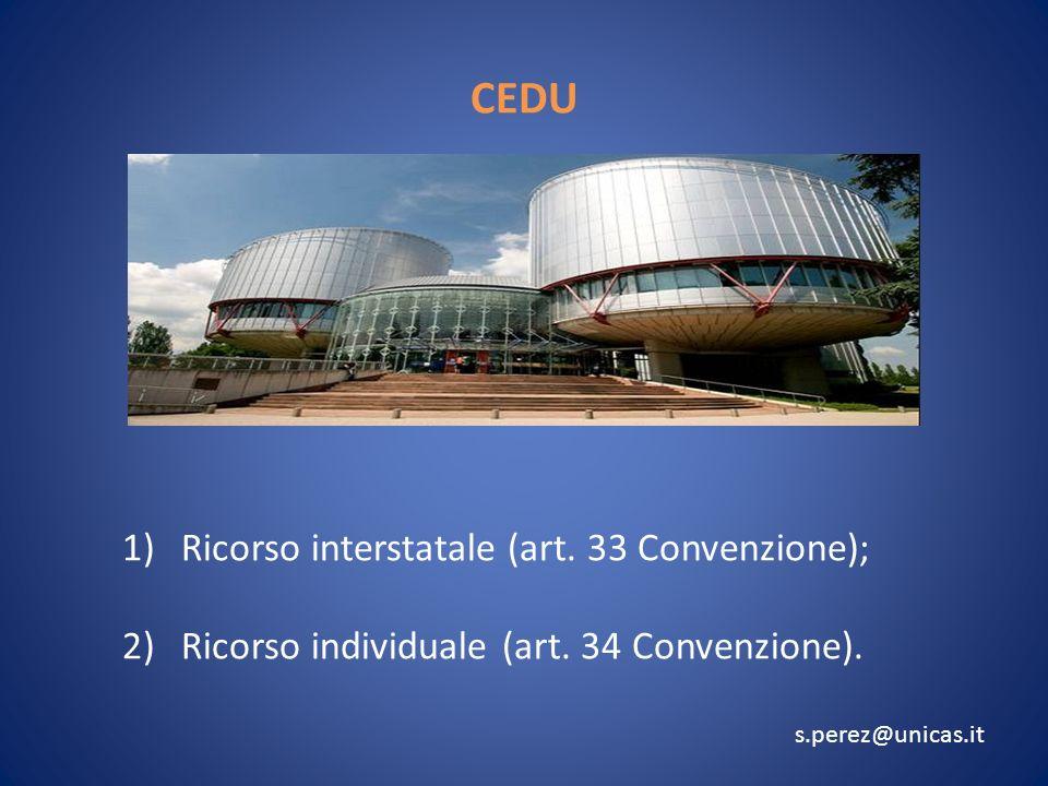CEDU 1)Ricorso interstatale (art.33 Convenzione); 2)Ricorso individuale (art.