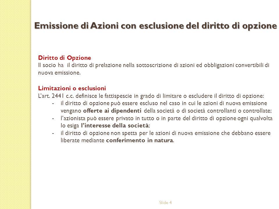 Slide 4 Diritto di Opzione Il socio ha il diritto di prelazione nella sottoscrizione di azioni ed obbligazioni convertibili di nuova emissione. Limita