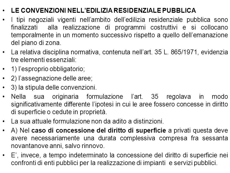 . LE CONVENZIONI NELLEDILIZIA RESIDENZIALE PUBBLICA I tipi negoziali vigenti nellambito delledilizia residenziale pubblica sono finalizzati alla reali