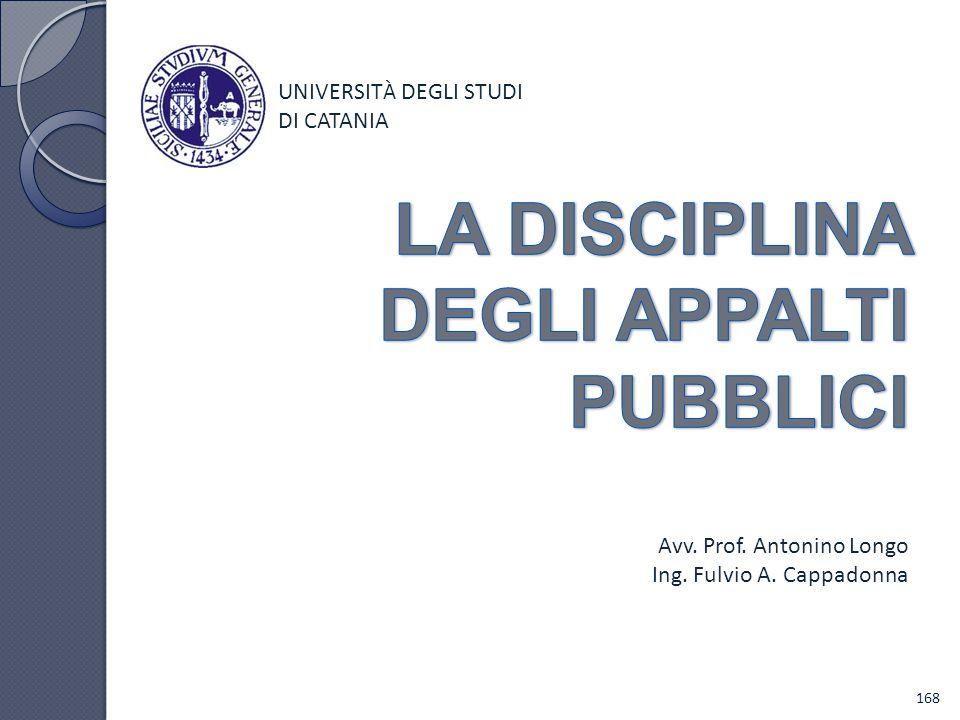 UNIVERSIT À DEGLI STUDI DI CATANIA Avv. Prof. Antonino Longo Ing. Fulvio A. Cappadonna 168