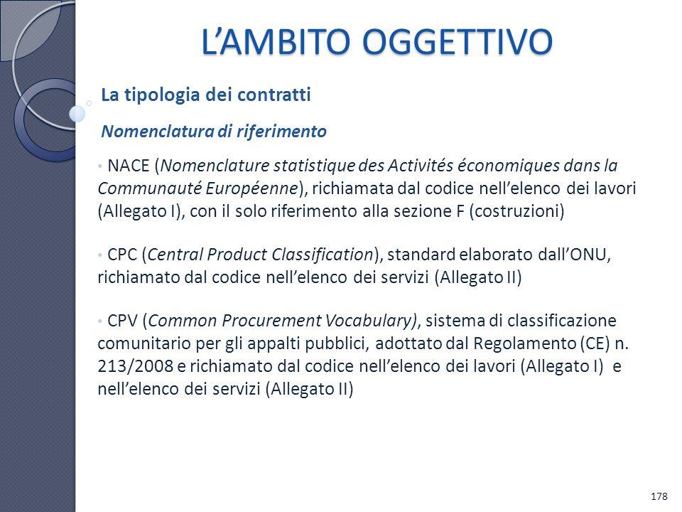 NACE (Nomenclature statistique des Activités économiques dans la Communauté Européenne), richiamata dal codice nellelenco dei lavori (Allegato I), con