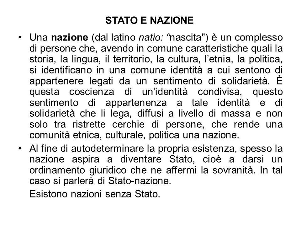 STATO E NAZIONE Una nazione (dal latino natio: nascita
