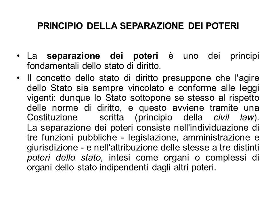 PRINCIPIO DELLA SEPARAZIONE DEI POTERI La separazione dei poteri è uno dei principi fondamentali dello stato di diritto. Il concetto dello stato di di