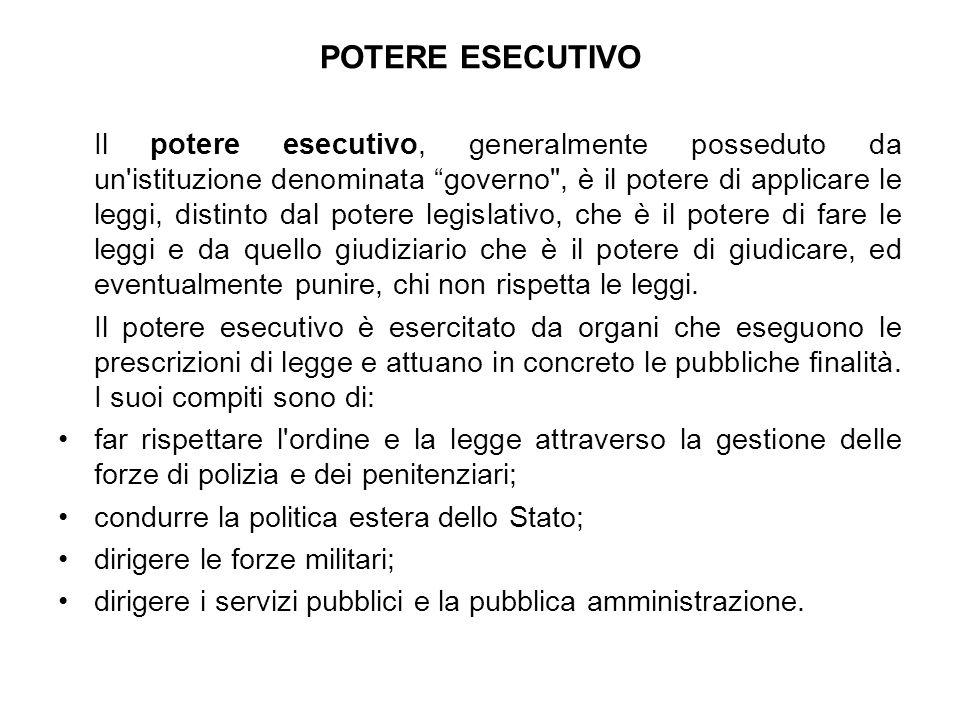 POTERE ESECUTIVO Il potere esecutivo, generalmente posseduto da un'istituzione denominata governo