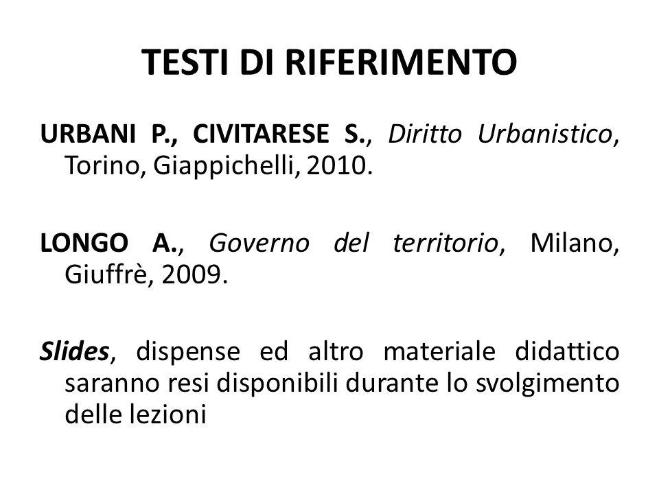 TESTI DI RIFERIMENTO URBANI P., CIVITARESE S., Diritto Urbanistico, Torino, Giappichelli, 2010. LONGO A., Governo del territorio, Milano, Giuffrè, 200