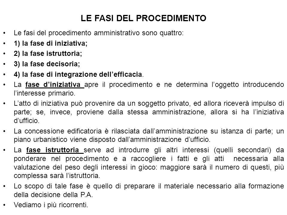 LE FASI DEL PROCEDIMENTO Le fasi del procedimento amministrativo sono quattro: 1) la fase di iniziativa; 2) la fase istruttoria; 3) la fase decisoria;