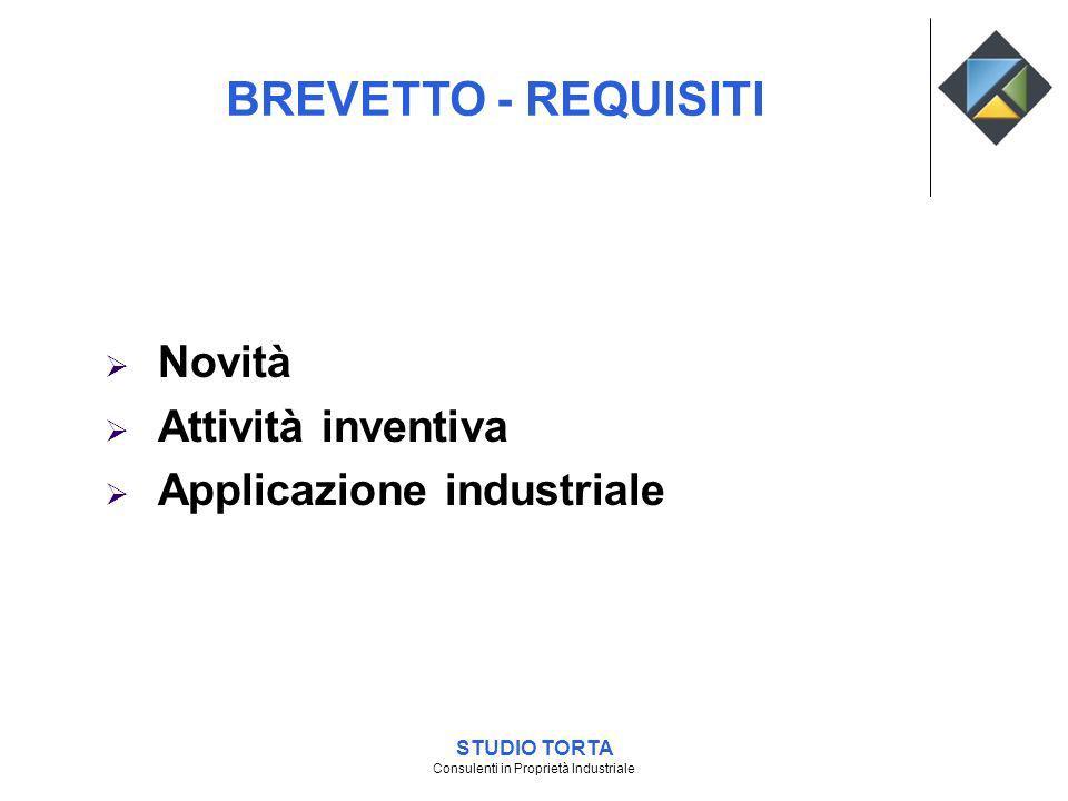 Novità Attività inventiva Applicazione industriale BREVETTO - REQUISITI STUDIO TORTA Consulenti in Proprietà Industriale