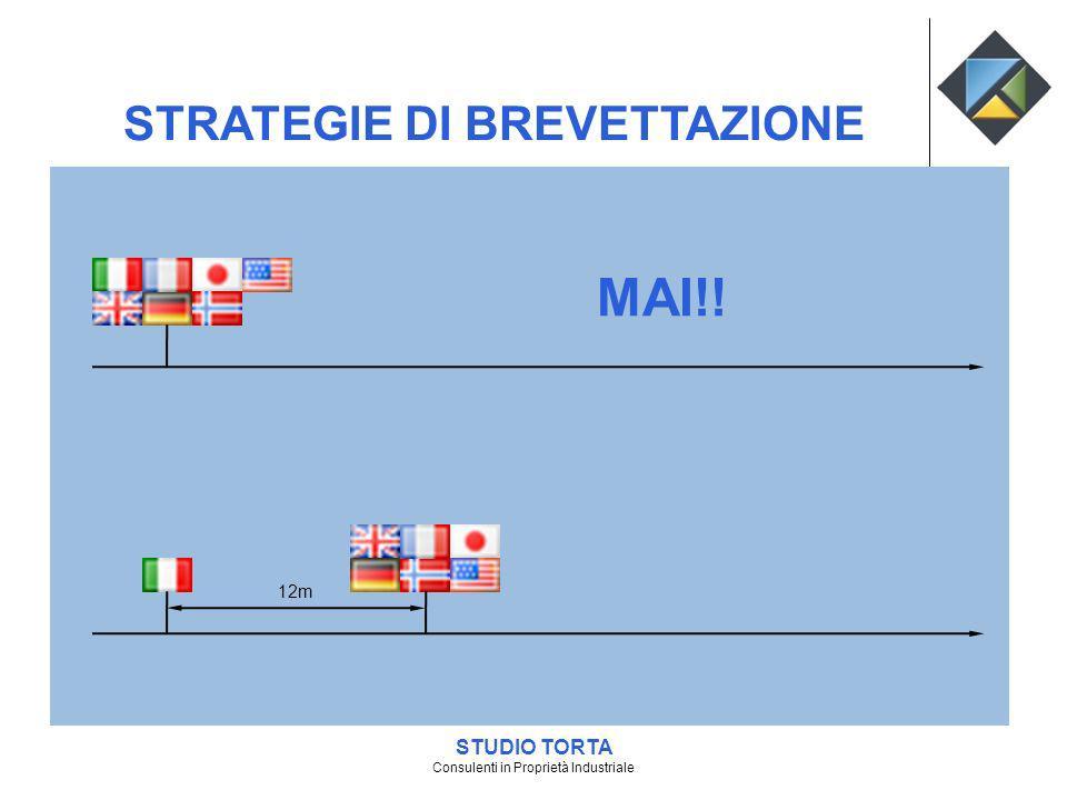 12m MAI!! STUDIO TORTA Consulenti in Proprietà Industriale STRATEGIE DI BREVETTAZIONE