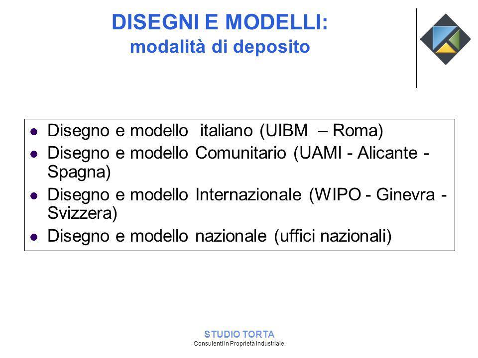 STUDIO TORTA Consulenti in Proprietà Industriale Disegno e modello italiano (UIBM – Roma) Disegno e modello Comunitario (UAMI - Alicante - Spagna) Dis