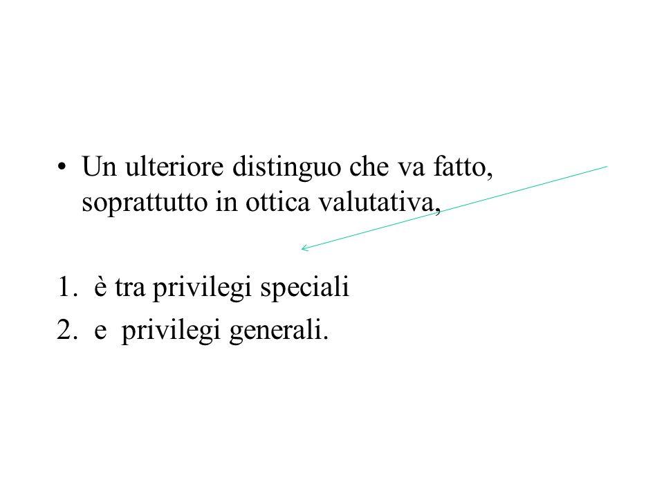 Un ulteriore distinguo che va fatto, soprattutto in ottica valutativa, 1.è tra privilegi speciali 2.e privilegi generali.