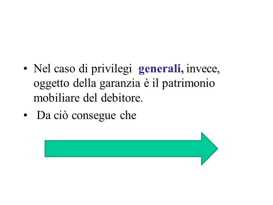 Nel caso di privilegi generali, invece, oggetto della garanzia è il patrimonio mobiliare del debitore. Da ciò consegue che