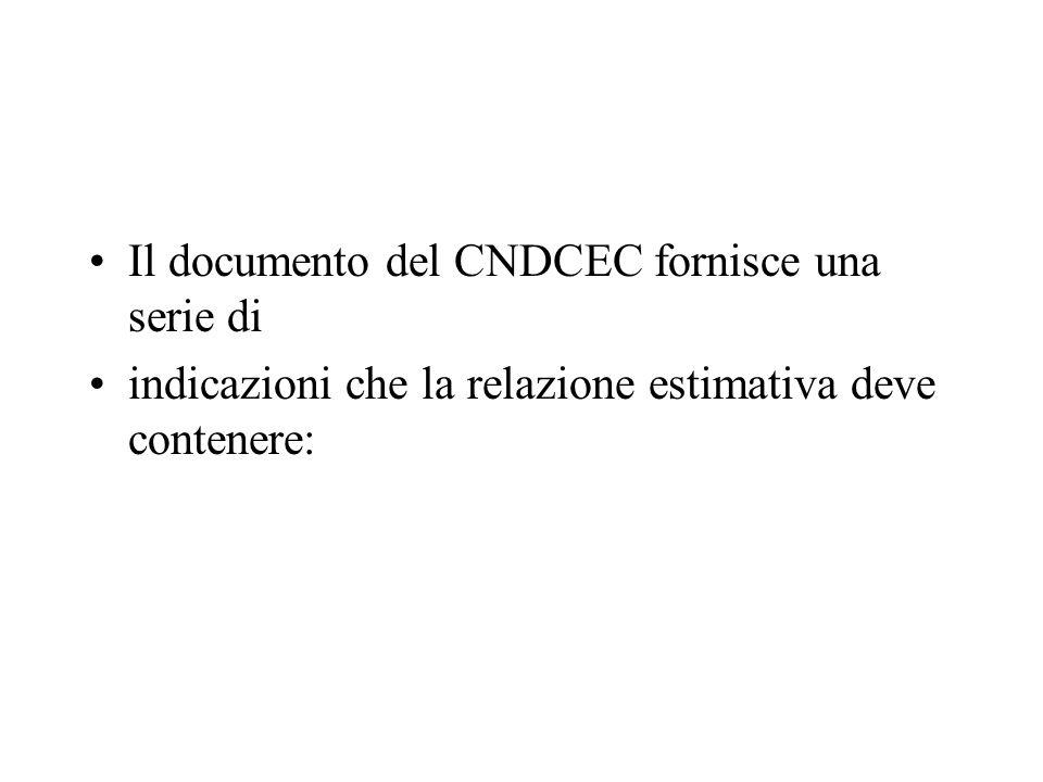 Il documento del CNDCEC fornisce una serie di indicazioni che la relazione estimativa deve contenere: