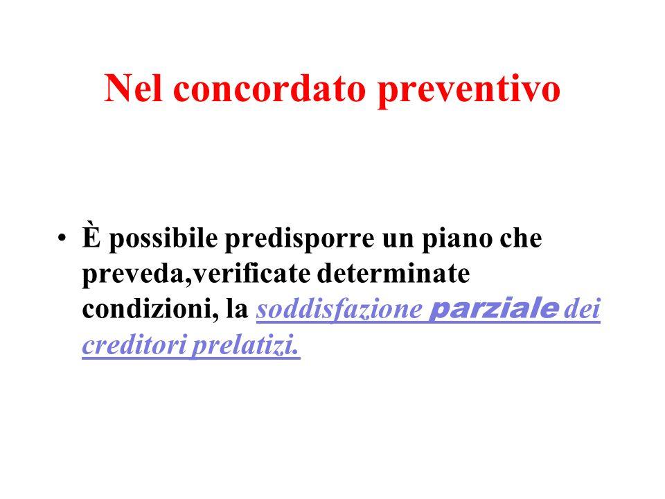 Nel concordato preventivo È possibile predisporre un piano che preveda,verificate determinate condizioni, la soddisfazione parziale dei creditori prel